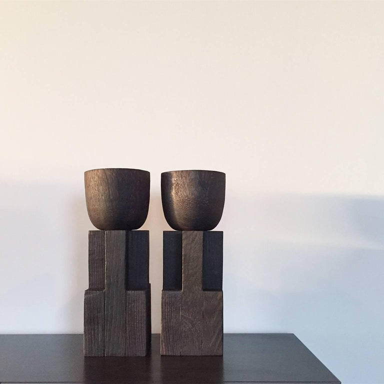 Goblet Vase, Iroko and Oak, Signed Arno Declercq In New Condition For Sale In Geneve, CH