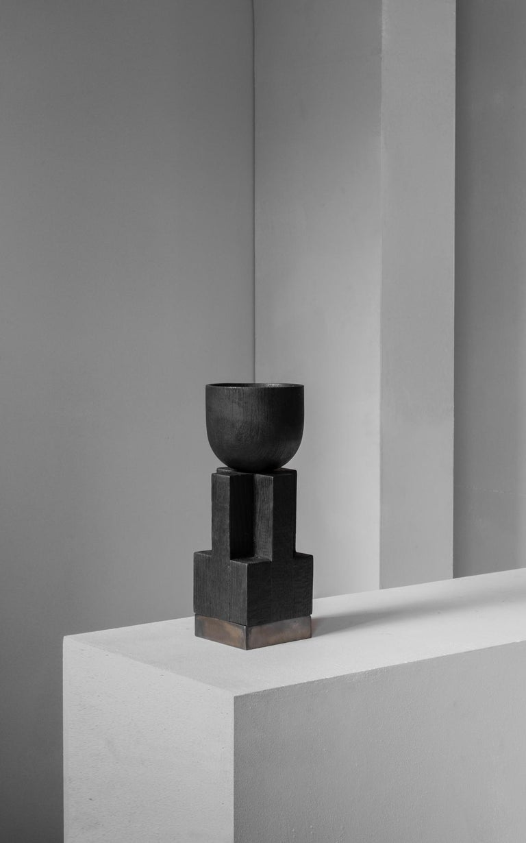 Contemporary Goblet Vase, Iroko and Oak, Signed Arno Declercq For Sale