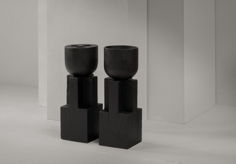 Goblet Vase, Iroko and Oak, Signed Arno Declercq For Sale 2