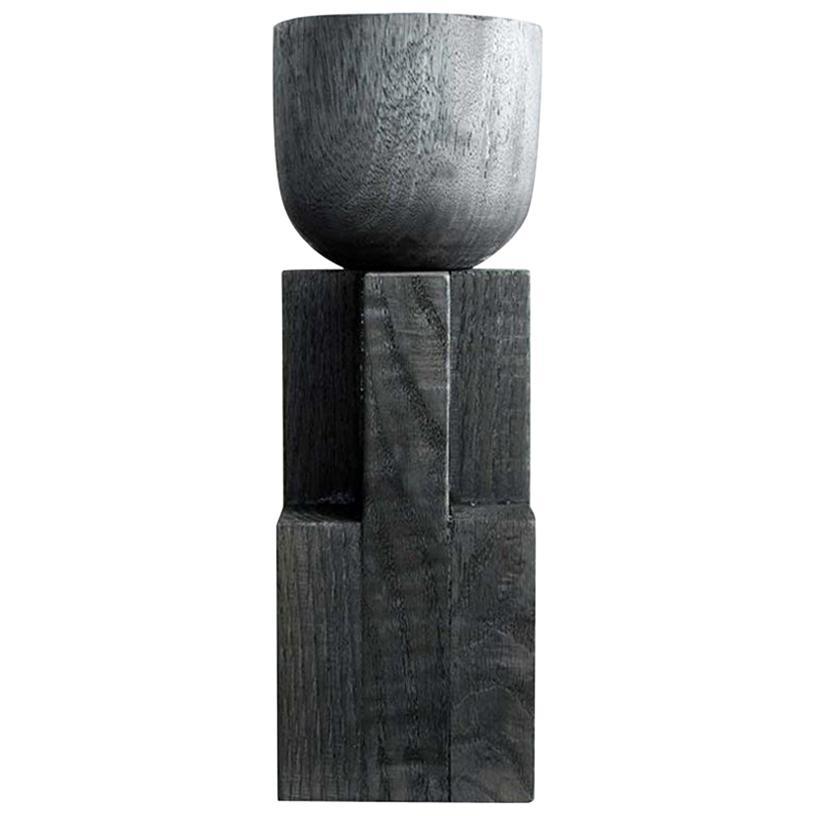 Goblet Vase, Iroko and Oak, Signed Arno Declercq