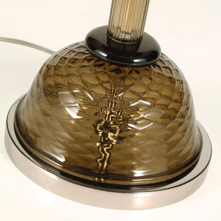 Other Goblin Table Lamp in Smoky Quartz Artistic Glass, Ivory Lampshade by Multiforme For Sale