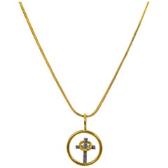 God So Loved the World, Stories in a Circle 22k Gold Two-Tone Pendant Necklace