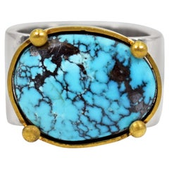 Godber Turquoise, 22 Karat Gold and Sterling Silver Square Cocktail Ring