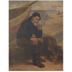Goddard British Painter, Oil Painting on Canvas, Fisherman Portrait, circa 1890s