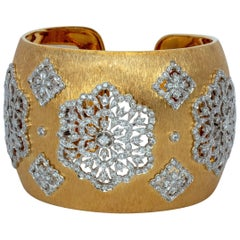 Goddess Prime Diamond and Gold Cuff Link Bracelet in Florentine Finish Only One