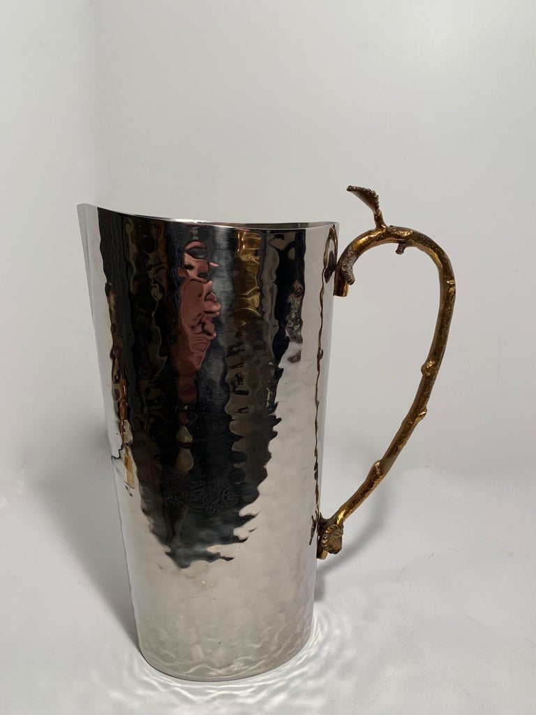 Godinger Hammered Pitcher with Brass Leaf and Twig Handle - a handsome addition to your table or bar - beautiful and in perfect condition.