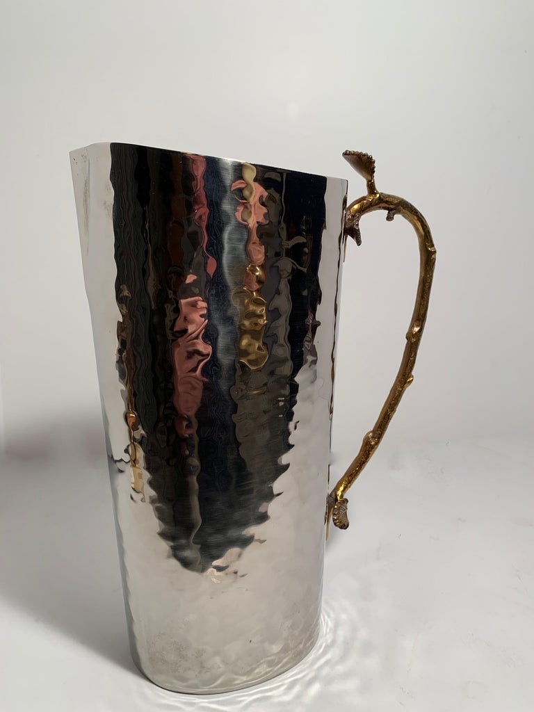 20th Century Godinger Hammered Pitcher with Brass Leaf and Twig Handle For Sale