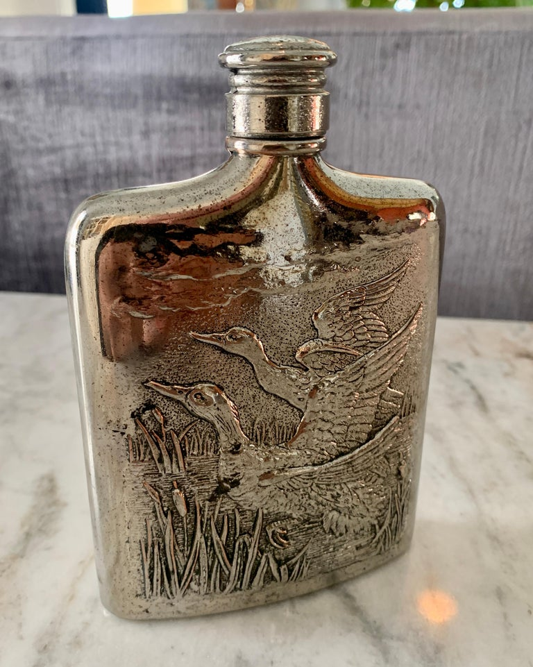 Godinger Silver Plate Flask with Repousse Geese For Sale 4
