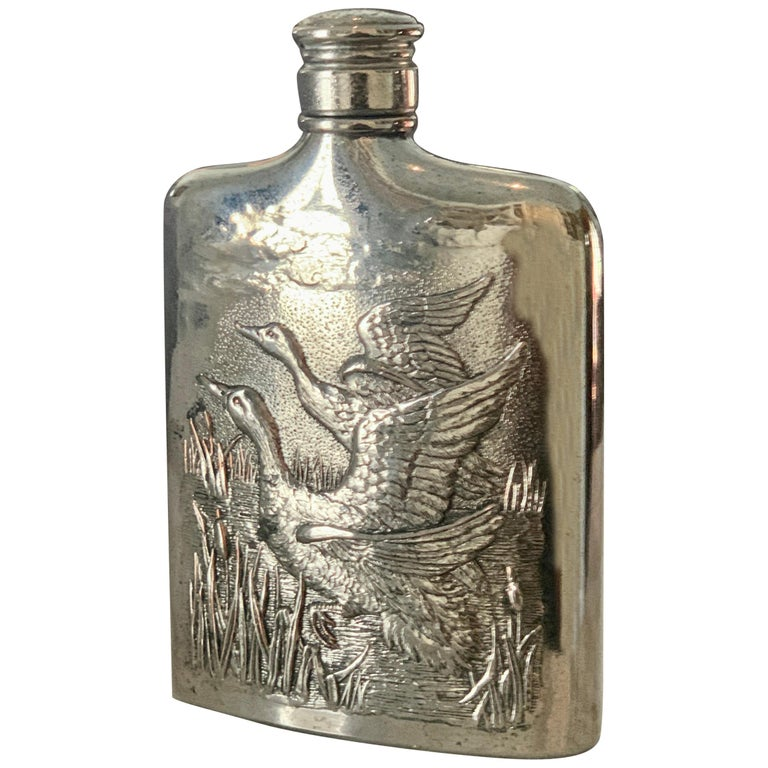 Godinger Silver Plate Flask with Repousse Geese For Sale
