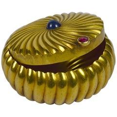 Godronne Gold Sapphire Ruby Pill Box