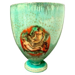 """Gods, Goddesses and Horses,"" Art Deco Vase with Nudes, Sea Green Glaze"