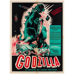 """Godzilla"" Original French Film Movie Poster, A. Poucel, 1950s Rare Vintage"