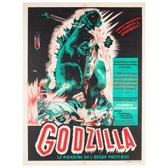"""Godzilla"" Original French Film Movie Poster, A. Poucel, R1954 Rare Vintage"