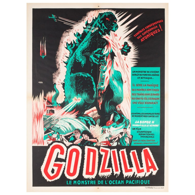 """Godzilla"" Original French Film Movie Poster, A. Poucel, R1954 Rare Vintage For Sale"