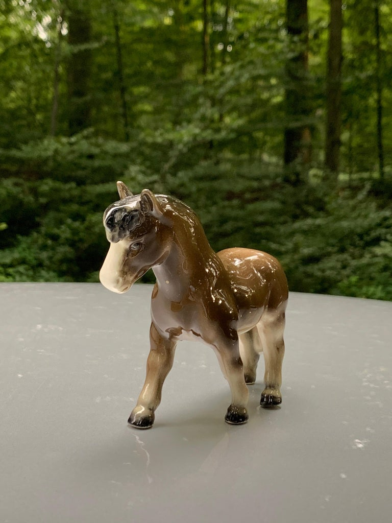 Hand-Painted Goebel Germany Miniature Horse Pony Vintage Porcelain Figurine  For Sale