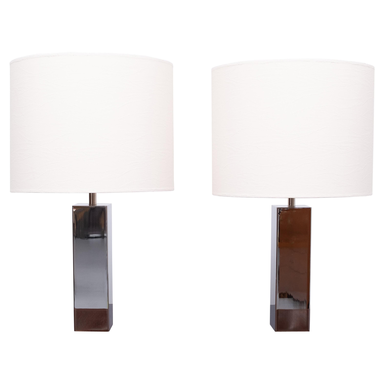 Goffredo Reggiani Chrome Square Table Lamps, Italy, 1960s