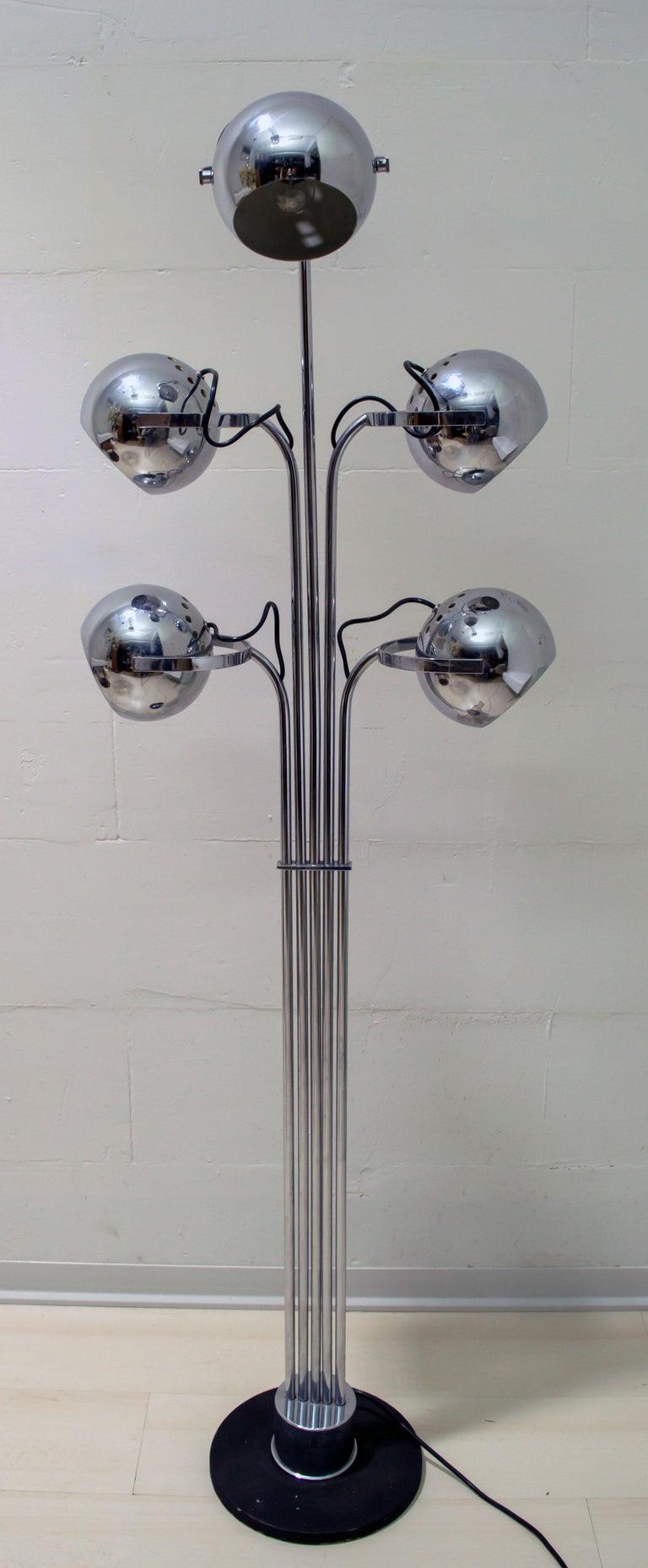 Goffredo Reggiani Mid-Century Modern Italian 5 Lights Chrome Floor Lamp, 1970s For Sale 2