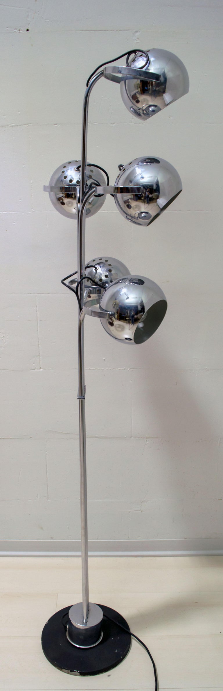 Goffredo Reggiani Mid-Century Modern Italian 5 Lights Chrome Floor Lamp, 1970s For Sale 4