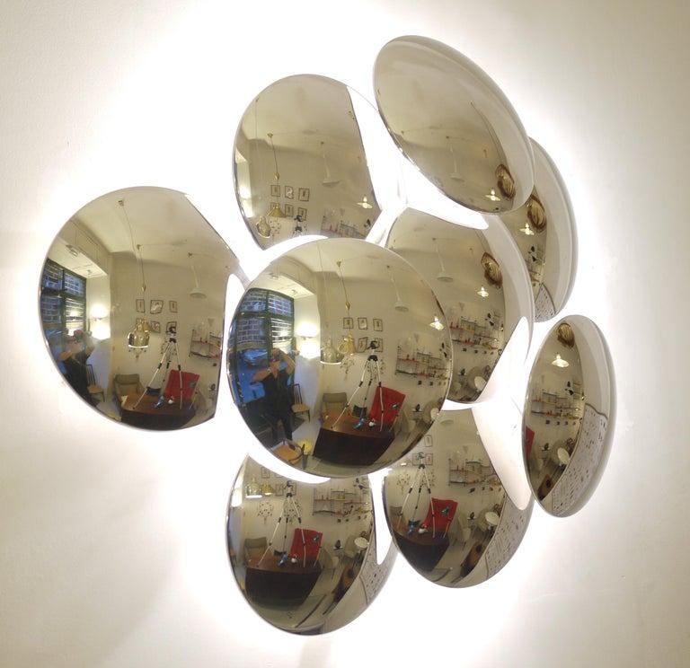 Goffredo Reggiani Nine Convex Disc Sconce For Sale 6