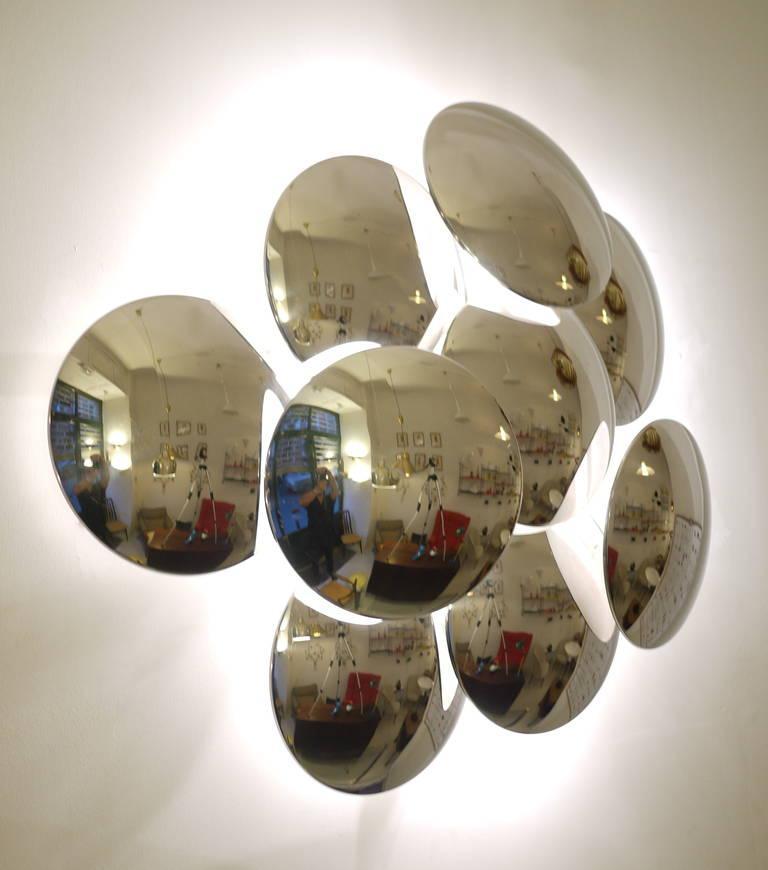 Mid-Century Modern Goffredo Reggiani Nine Convex Disc Sconce For Sale
