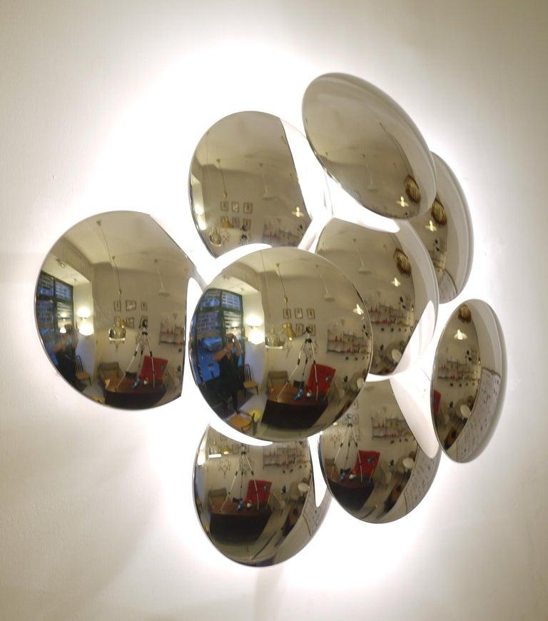 Italian Goffredo Reggiani Nine Convex Disc Sconce For Sale