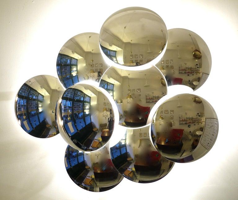 Goffredo Reggiani Nine Convex Disc Sconce For Sale 2
