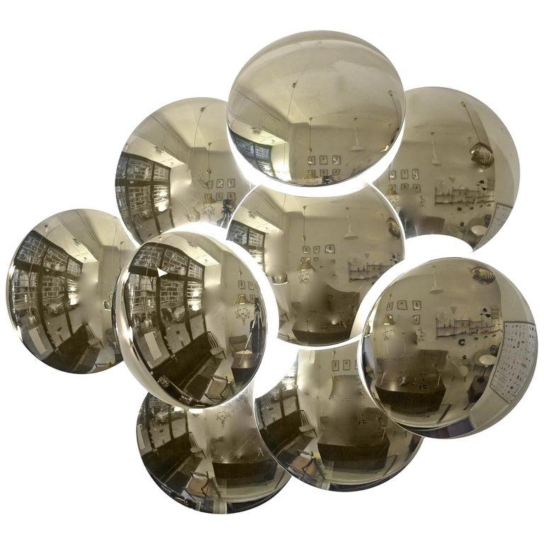 Goffredo Reggiani Nine Convex Disc Sconce For Sale