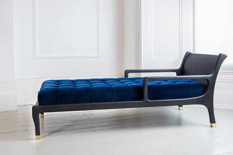 Goga Chaise Lounge Daybed Sofa Chair by Felice James in Oak Brass Velvet 3