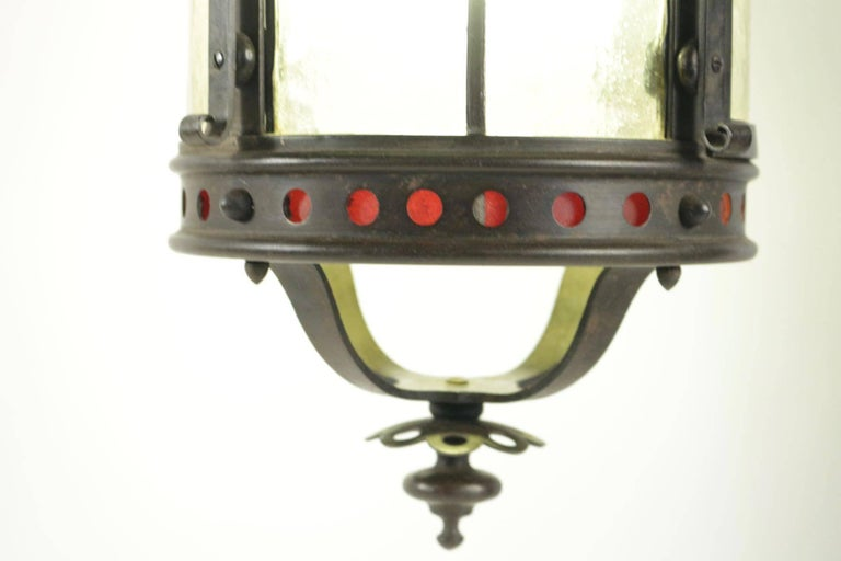 Gothic Gohic Single Light Lantern in Wrought Iron and Glass For Sale