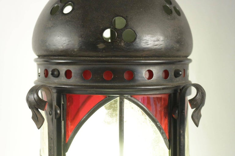 French Gohic Single Light Lantern in Wrought Iron and Glass For Sale