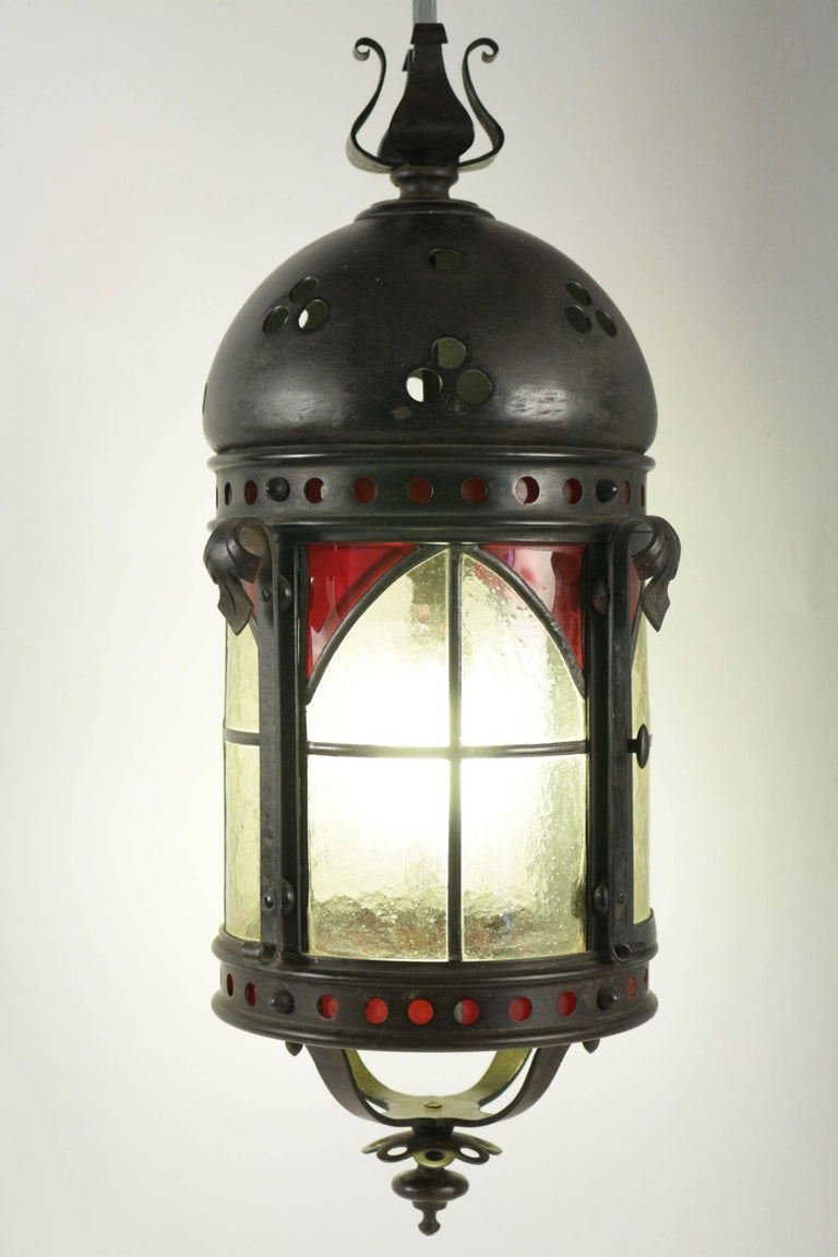 19th Century Gohic Single Light Lantern in Wrought Iron and Glass For Sale