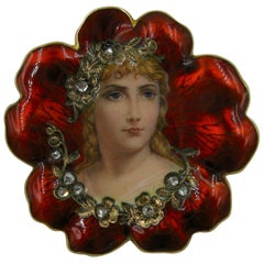 Golay and Fils Diamond Flower Maiden Brooch Swiss Enamel Art Nouveau 18 Karat