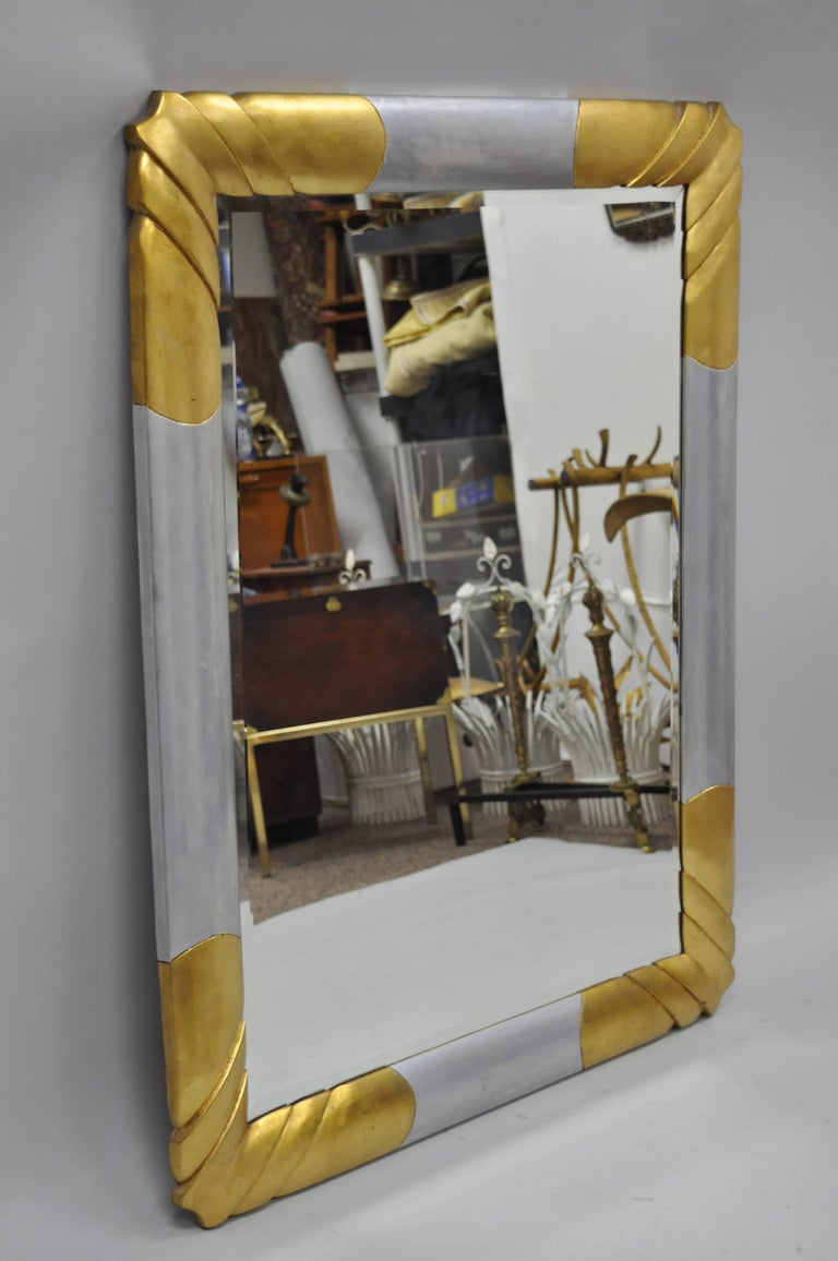 Gold and Silver Leaf Hollywood Regency Art Deco Style Wall Mirror by Turner For Sale 4