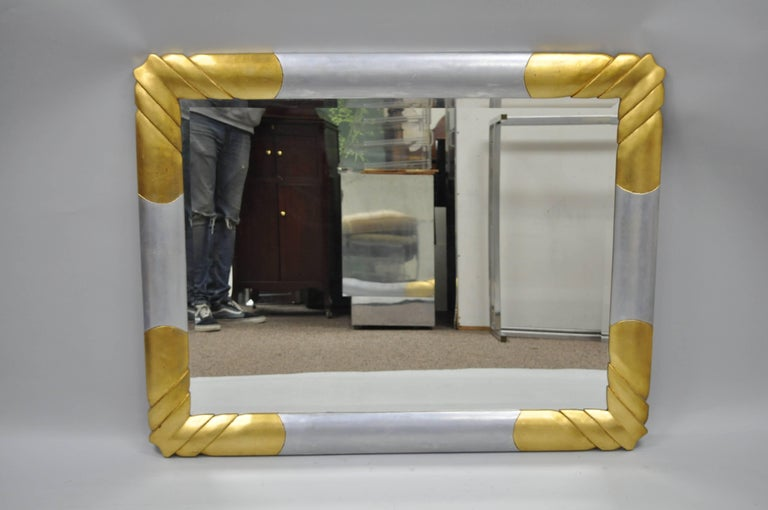 Gold and Silver Leaf Hollywood Regency Art Deco Style Wall Mirror by Turner For Sale 6