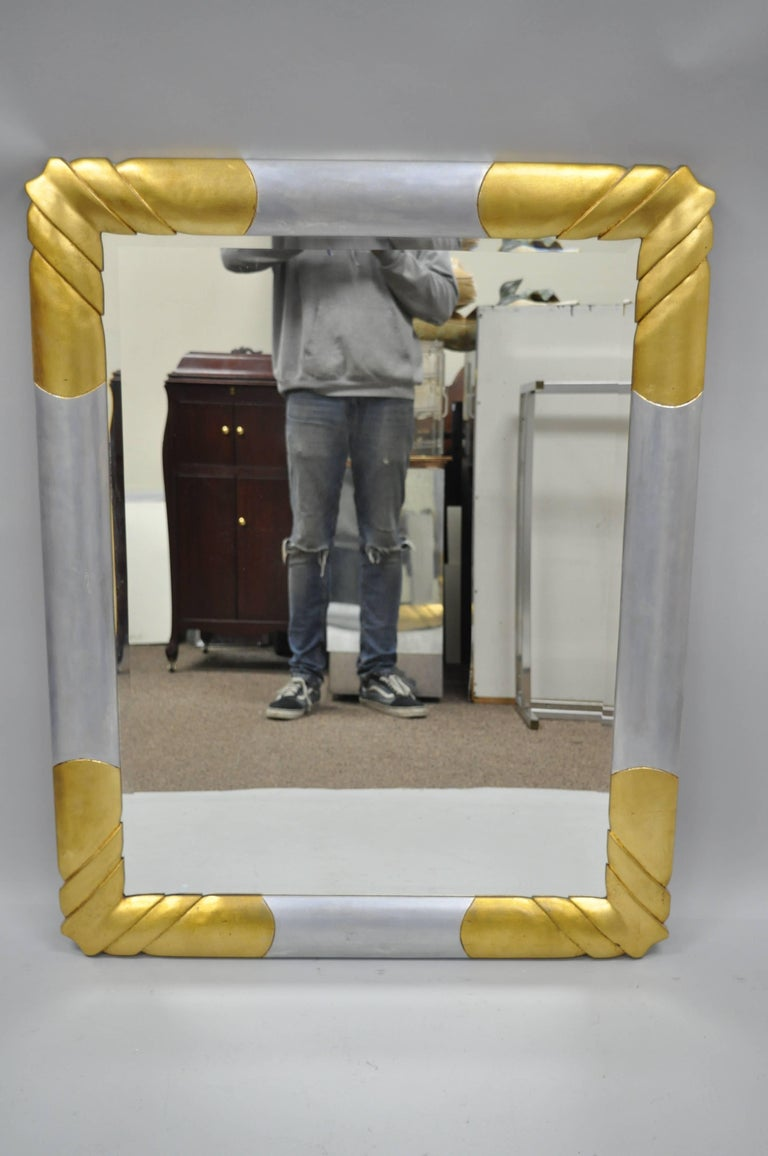 Gold and Silver Leaf Hollywood Regency Art Deco Style Wall Mirror by Turner In Good Condition For Sale In Philadelphia, PA