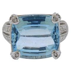 Gold 15 Carat Aquamarine Diamond Ring