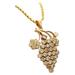 """Gold 20K. '833/-' Necklace with a """"bunch of grapes"""" Pendant Set with Diamonds"""