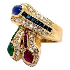Gold 2.54 Carat Natural Emerald, Ruby Sapphire Cocktail Diamond Ring, circa 1970