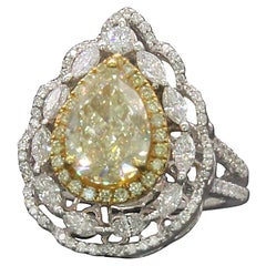 PANIM 3.08 Carat GIA Certified Yellow and White Diamond Pear Cocktail Ring