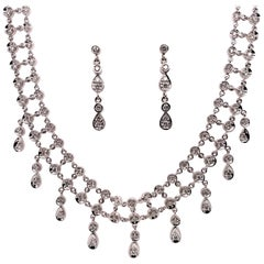 Gold 3.10 Carat Natural Round Brilliant Diamond Vintage Necklace and Earring Set