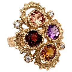 Gold 3.25 Carat Natural Diamond Multi-Color Gemstone Cocktail Ring, circa 1980