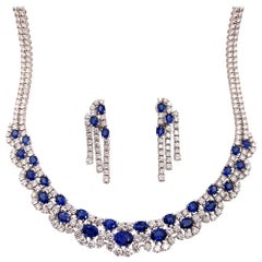 Gold 43.50 Carat Natural Round Diamond and Oval Sapphire Necklace Earring Set