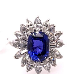 Gold 6.09 Carat Natural Certified Unheated Sapphire and Diamond Engagement Ring