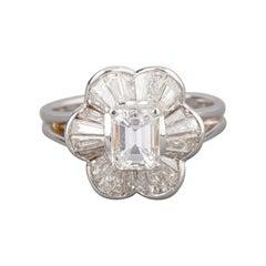 Gold a 2.05 Carats Diamonds 'E/D Vs2' French Vintage Ring