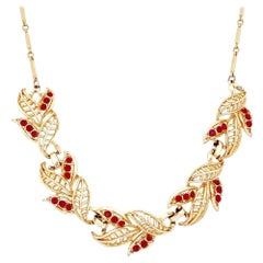 Gold Abstract Leaf Motif Choker Necklace With Red Rhinestones By Coro, 1950s