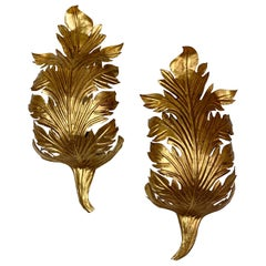 Gold Acanthus Leaf Wall Lights, circa 1960s