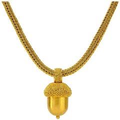 Gold Acorn 22 Karat Gold Pendant