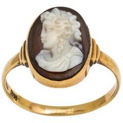 Gold Agate Cameo Ring, circa 1850