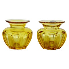 Gold-Amber Matching Pair of Cut Crystal Table Vases, with Sticker WMF