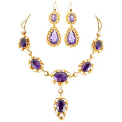 Gold Amethyst and Pearl Drop Necklace and Earrings